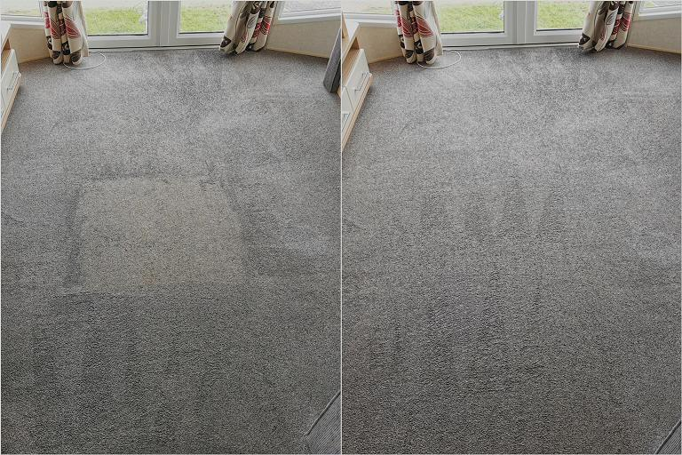 Lounge Carpet - Dirty patch before and after